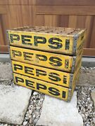 Lot Of Four - Vintage Wooden Soda Crate Pepsi Cola Wood Box Park Falls Wisconsin
