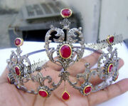 7.56ct Antique Rose Cut Diamond Sterling Silver 925 Queen Style Ruby Tiara Crown