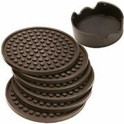 Enkore Coasters Set Of 6 With Holder Coffee Brown - Protect Furniture From Wa...