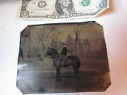 1/2 Plate Tintype Of Young Man On Horse Front Of Mansion W/sign Very Good