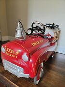 Gearbox Pedal Car Fire Truck No.1 W/bell And Hubcaps And Siren In Great Condition