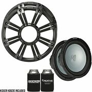 Kicker Two 12 Inch Led Marine Subwoofers In Charcoal 2 Ohm Bundle 4 Ohm Each