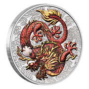 Dragon 2021 Chinese Myths And Legends 1 Oz Colored Silver Dragon Perth Mint