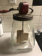 Rarevintage Scc 8 Quart-no. 8 Clear Glass Butter Churn Red Top And Wood Handle