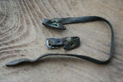 Wwii Ww2 Military Leather Chin Strap For German Helmet - Rare Bronze Rivets