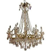 Exquisite 18 Light French Style Crystal And Brass Chandelier