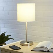 Modern Silver And White Table Lamp With Usb Port For Living Room Bedroom Officeandnbsp