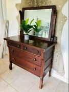 Antique Solid Wood Bedroom Dresser With Mirror Used