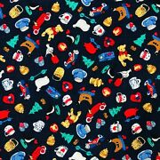 Vtg Teddies Collection Rose And Hubble Cotton Fabric Antique Toys Print 1+2/3 Yd