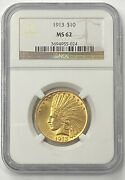 1913-p 10 Indian Head Pre-33 Gold Eagle Ngc Ms62 Brilliant And Boldly Struck