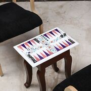 Marble White Top Backgammon Table With Stand Indoor Best Game Gift For Birthday
