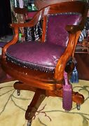 Antique Swiv.desk Chair/ Octagon Arms/covered Strap Back/handmade Cushion