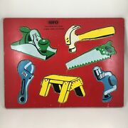 Vintage Sifo Wooden Inlay Cutout Puzzle Carpenter's Tools 6 Pieces 1h5