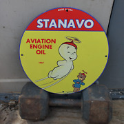 Vintage 1967 Stanavo Aviation Engine Oil Porcelain Gas And Oil Pump Sign