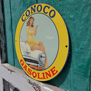 Vintage 1945 Conoco Superior Gasoline Service Stations Porcelain Gas And Oil Sign