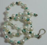 White Fresh Water Potato Pearl Turquoise Blue Seed Bead 18 Necklace Cb 96