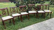 Set Tell City Mahogany Duncan Phyfe Style Harp/lyre Back Dining Chairs Can Ship