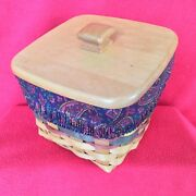 Longaberger Finders Keepers Basket Paisley Liner Protector And Lid Fathers Day New