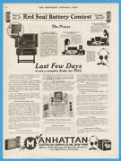 1922 Manhattan Electrical Supply Radio Set Grebe Red Seal Battery Contest Ad