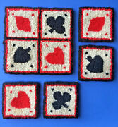 Vintage Hand Hooked Cheticamp Mat Plus 4 Coasters Playing Card Symbols Canada