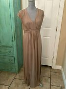 Cato, Stretchy, Beige, Empire Style, V-neck, Maxi Dress, With Crochet Back, L