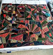 Antique Victorian 1888 Crazy Quilt Signed Dated Lucky Horseshoe 74x67