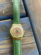 Swatch Gold Spandeacutecial Edition Rare With Leather Green Bracelet
