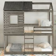 Unique Design 1pc Twin Over Twin Bunk Bed Antique Gray Finish Kids Teens Adults