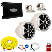 Wet Sounds Icon8w-sc White 8 Towers Arc Audio Ks-300.2 Amp With Wiring Kit