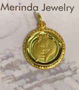 Zodiac 24k Solid Yellow Gold Animal Sign Round Pig Charm/ Pendant. 3.70 Grams