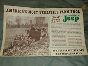 Rare 1947 Willys Jeep Americaand039s Most Versatile Farm Tool Fold Out Brochure