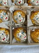 12 Vtg West Germany Ornaments Angel Face Head Hand Blown Painted Glass Iob Xmas
