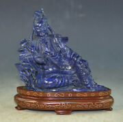 Vtg Chinese Carved Lapis Lazuli Figure Of Kuan-yin Of The Wood Stand
