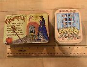 Lot Of Two 2 Decorative Tins Cinderella Book Shaped England And Window Shaped