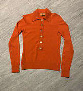 Womenandrsquos Orange 100 Cashmere Henley Sweater Size Xs Ribbed Collar