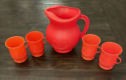 Vintage Kool-aid Smiling Man 2 Quart Red Plastic Pitcher With 4 Matching Cups