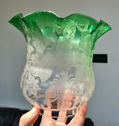 Original Victorian Catalogued Green Glass Acid Etched Oil Lamp Shade 4 Duplex
