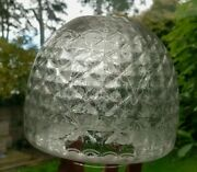 Original Victorian Diamond Quilt Glass Oil Lamp Shade Etched 4 Beehive Duplex