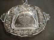 Heisey Etched Glass Hanging Orchid Design Butter Dish With Lid