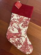 Nwt Pottery Barn Red Alpine Toile Stocking 1 Christmas Stag Mono Removed