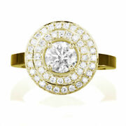 Solitaire 2 Carat Round + Side Stones Real Diamond 14k Yellow Gold Proposal Ring