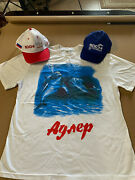 Russian White Adler T-shirt Size L With And Two Sochi Olympic Hats