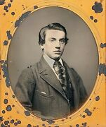 Handsome Young Dandy Wearing Spectacles Plaid Tie 1/6 Plate Daguerreotype H418