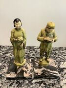Pair Of J B Hirsch Painted/enamel Chinese Man And Woman Bookends