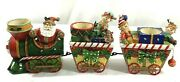 Home Interiors And Gifts Christmas Train Candle Holder 3 Cars Vintage Santa Elves
