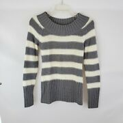 Arizona Junior Womam's Sweater Size Small Silver And White Strip Soft Feel