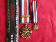 South African Military Merit Medal Full Size W/bar And Miniature - Serial Number