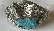 Vintage 1970's Signed Navajo Sterling Silver Papoose Turquoise Cuff Bracelet