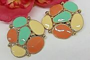 Couture Spring Colors Enamel Gold Tone Runway Bold Massive Earrings Em1