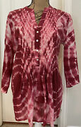 Chicoandrsquos 3/4 Sleeved Pink Tie Dye Pleat Front 100 Cotton Tunic/top- Size 2 L